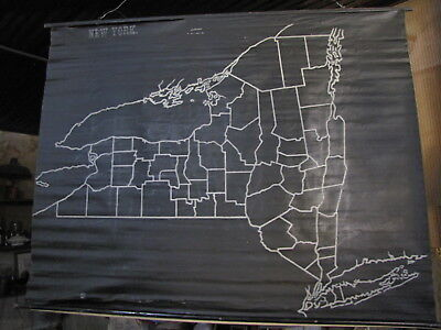 Antique Roll up 1899 Slated Outline Map, N.Y., Williams, Horseheads, N.Y. Nice!