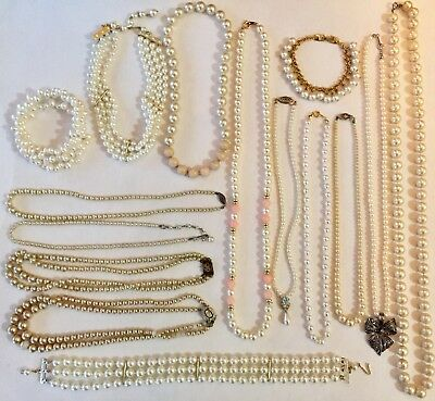 Lot Of 15 Pieces Vintage Faux Pearl Jewelry-Sterling Marvella Avon Napier- Pearl
