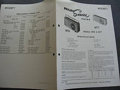 Philips Model MT6 -7 SERVICE NOTES