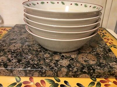 5 Merry Brite Soup Cereal Bowls Holiday Home Collection Holly Berry Pineco