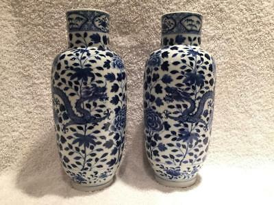 "Fine Pair of 19thC Chinese Blue & White Porcelain Vases DRAGON & PEONY 10"" EXC"