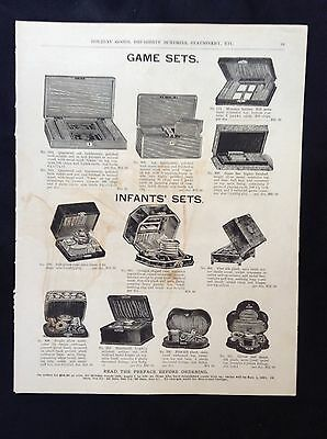 1891 Vintage Marshall Field Catalog Page ~ Poker Game Cases  Barber Shaving Sets