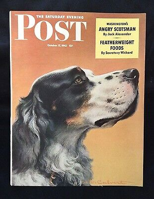 Saturday Evening Post October 1942 Cover ~ W.W. Calvert Painting ~ Pointer Dog?