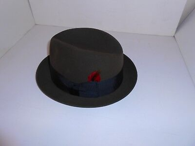 Vintage Dobbs Fifth Avenue Green Fedora Guilled Edge Size 7 3/8