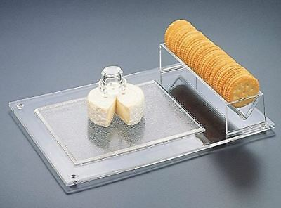 Cheese and Cracker Serving Tray Clear Acrylic Lucite Holder Cutting Board - USED