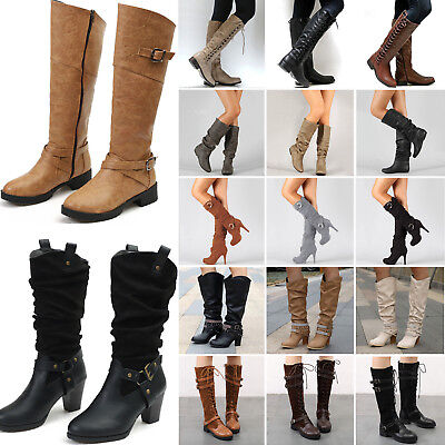 Womens Ladies Winter Mid Calf Knee High Boots Wide Leg Stretchy Flat Heel Shoes
