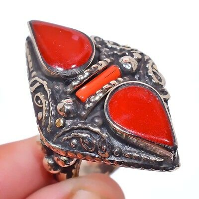 Tibetan Coral Gemstone 925 Sterling Silver Plated Ring Size-6.75 RR-38197
