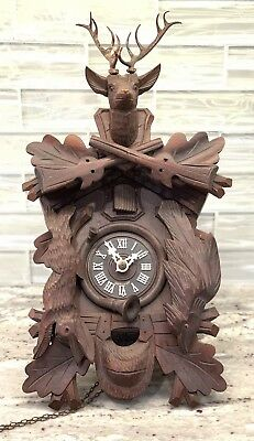 Black Forest Germany Cuckoo Clock Stag, Rabbit and Pheasant Missing Weights