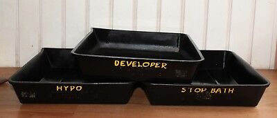 Vintage AMERICAN HARD RUBBER CO developing trays Darkroom Photography