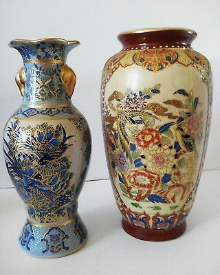 Two Antique Japanese Satsuma Moriage Vases Hand Painted Gilded Unmarked