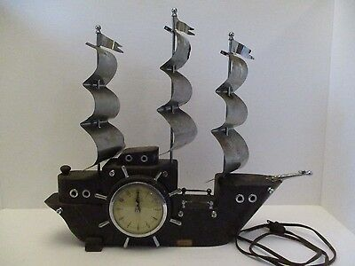 Vintage United Self Starting Wooden Ship Mantel Clock Made In USA - Needs Repair