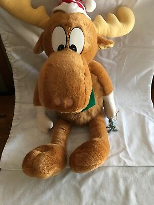 Vintage Macys Holiday Plush 1996 Bullwinkle with Rocky the Squirrel Ornament