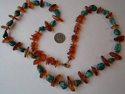 Vintage Natural Honey Baltic Amber & Natural Turquoise Necklace 44.2 Grams   27""