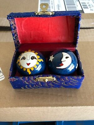 Vintage Chinese Stress Relief Iron Musical Balls Sun / Moon 1 Set Available.
