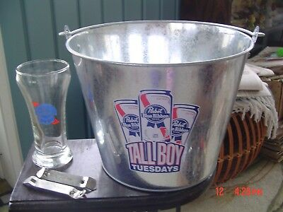 Pabst Blue Ribbon Beer Tin Ice Bucket ,Pabst 8 oz. Glass & 2 -PBR Bottle Openers