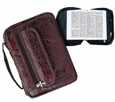 Burgundy Genuine Leather Bible Book Cover Purse Case Tote Bag Unisex New