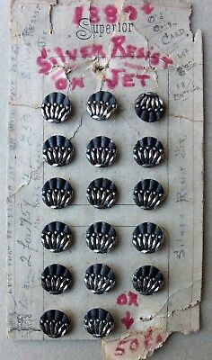 Antique Black Glass Buttons Silvered on Store Card Nineteenth Century
