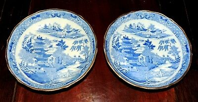 Antique English Caughley Porcelain Original Blue Willow Bowls Circa 1790