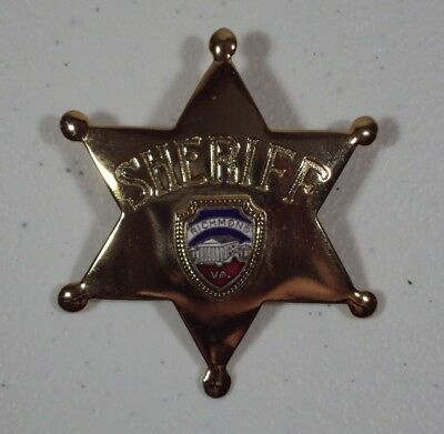 Vintage Richmond VA Virginia Souvenir Gold Sheriff Badge Metal Star Fort Brand