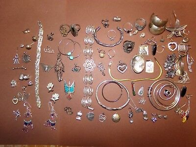 Antique Vintage Sterling Jewelry Lot for repair scrap some wearable 283 Grams