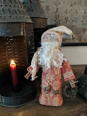 Early Style Christmas Santa in Antique 19th Century Coverlet Fragment