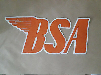 BSA Motorcycles 10.5 inch back patch. orange white. Synthetic leather. NEW NICE