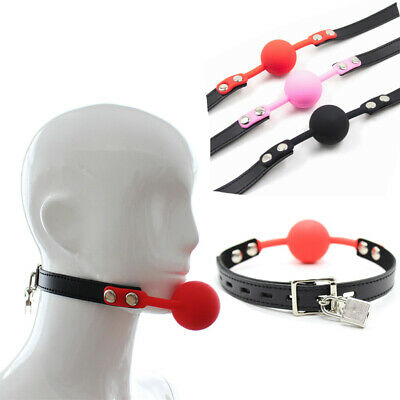 Lockable Full Silicone Soft Round Ball Gag Open Mouth Stuffer Restraint SlaveToy