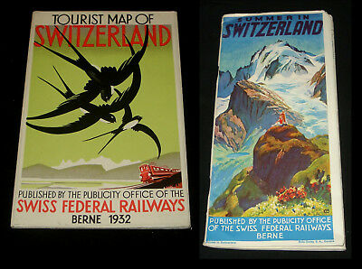 1930s SWISS FEDERAL RAILWAYS TOURIST BOOKLET & ART DECO MAP