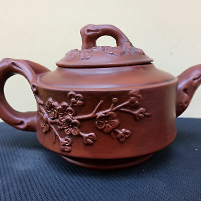 Chinese Vintage Yixing Exquisite Purple sand Antique Plum pattern Teapot  Z500