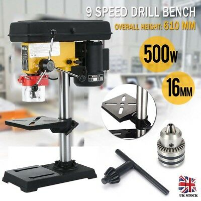 500W Bench Top 9 Speed Pillar Drill Press Bench& Table Stand 3mm-16mm Chuck 230V