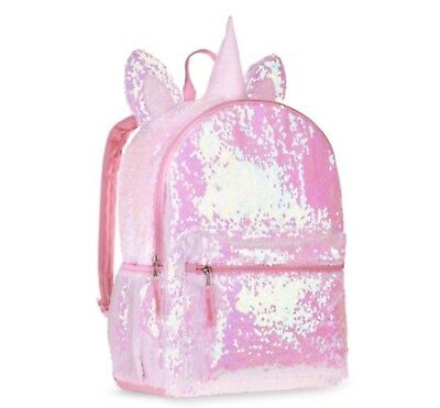3D Unicorn 2-Way Sequins Critter Backpack Book Bag Pink White Full Size