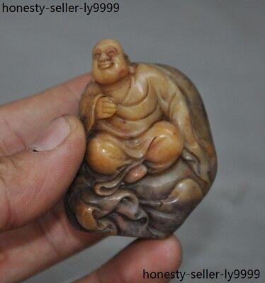 A  Old China Shoushan Stone Hand carved Maitreya buddha statue Seal stamp signet