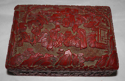 Antique 19th Century CHINESE CARVED CINNABAR Lacquer BOX Figures & Landscape