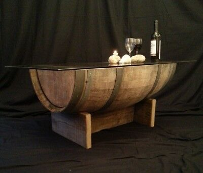 SOLD Genuine Oak Upcycled Vintage Wine Barrel Coffee Table with Glass Top