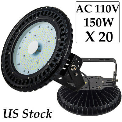 20X UFO 150Watts LED High Bay Lights Daylight Warehouse Industrial Work Fixtures