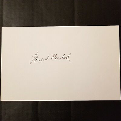 Thurgood Marshall Signed Large 5X8 Index Card Autograph Supreme Court Justice