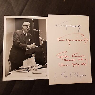 Karl Menninger double signed 5X8 Index Card Autograph Signature Psychiatrist