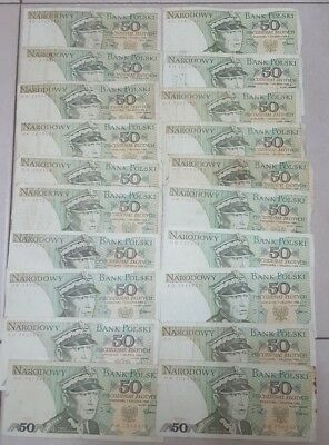Poland Lot of 20 Old Banknotes 50 Zlotych 1988