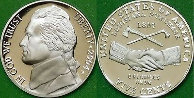 2004 US (S Mint) Hand Shake Nickel Graded as Proof From Original Set