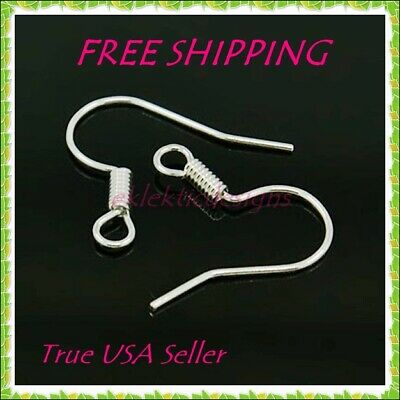100pcs Silver Plated Hook French Fish Wire Coil Earrings Jewelry Findings 50prs