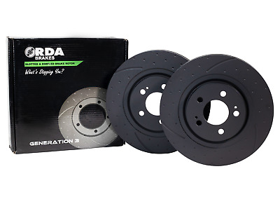 RDA Slotted And Dimpled Brake Rotor Pair RDA18D fits Holden Monaro HQ 3.3 20...