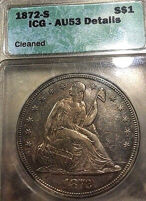 1872-S SEATED LIBERTY DOLLAR $1 AU53 KEY DATE MTG=9000 pcs