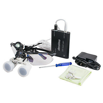 Dental Surgical Medical Binocular Loupe 3.5X420mm+ LED Head Light Lamp with clip