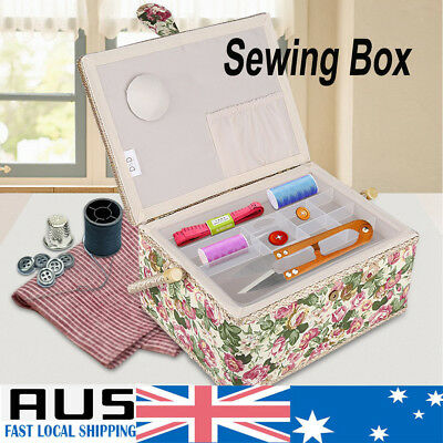 Cloth Sewing Storage Basket Box Gift Set Sewing Tool Accessories Case w/ Handle