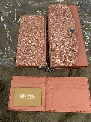 89701eab24ed NWT MICHAEL KORS Juliana Large 3-In-1 Flap Wallet Saffiano Leather PALE PINK
