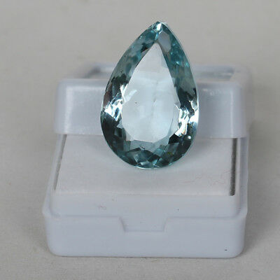22.20 Ct Natural Aquamarine Greenish Blue Color Pear Cut Loose Certified Gem