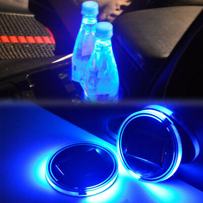 2x Solar Cup Holder Bottom Pad LED Light Cover Trim Car Interior Atmosphere Lamp