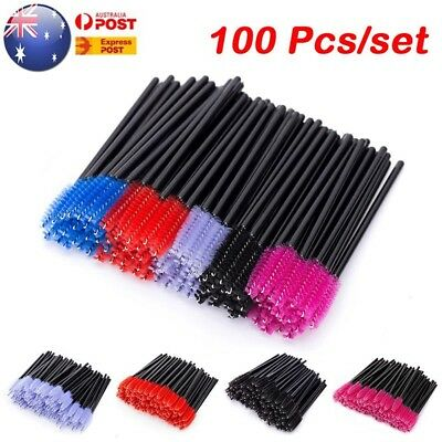 100 Pcs Disposable Mini Eyelash Lash Makeup Brush Wand Mascara Wands Applicator