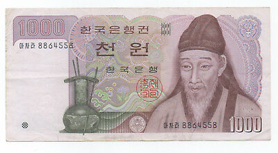 SOUTH KOREA ₩1000 Nice note in VF condition, Selling Cheap!!