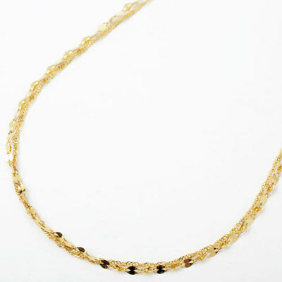 """24K Solid Yellow Gold 2-Strand Pedal & Screw Chain Necklace 16.5"""" Made in Japan"""